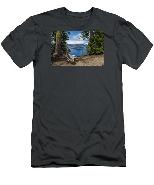 Through The Trees To Wizard Island Men's T-Shirt (Slim Fit) by Greg Nyquist