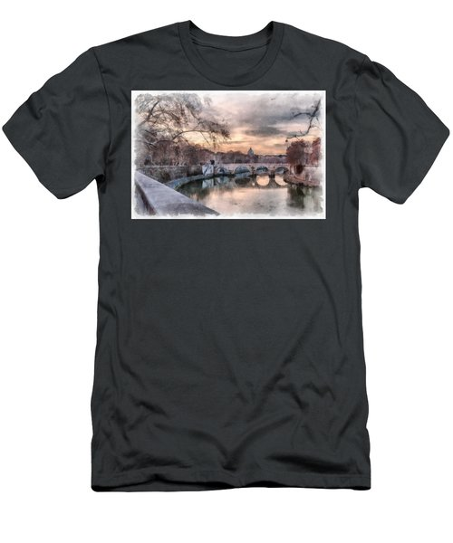 Tiber - Aquarelle Men's T-Shirt (Slim Fit) by Sergey Simanovsky