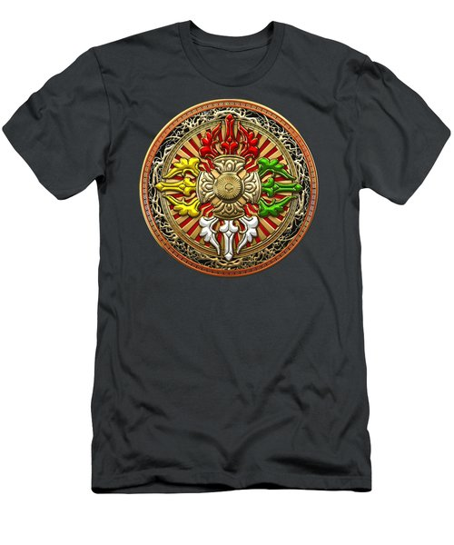 Tibetan Double Dorje Mandala - Double Vajra On Brown Leather Men's T-Shirt (Athletic Fit)