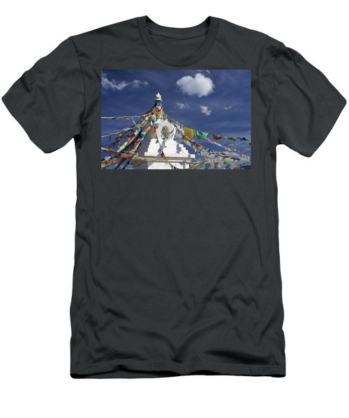 Tibetan Stupa With Prayer Flags Men's T-Shirt (Athletic Fit)