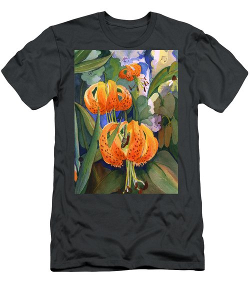 Men's T-Shirt (Slim Fit) featuring the painting Tiger Lily Parachutes by Nancy Watson