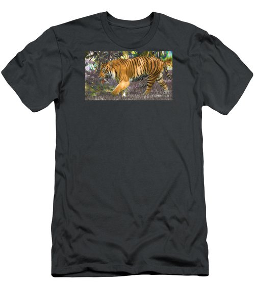 Men's T-Shirt (Slim Fit) featuring the painting Tiger On The Prowl by Judy Kay