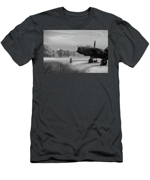 Men's T-Shirt (Slim Fit) featuring the photograph Time To Go - Lancasters On Dispersal Bw Version by Gary Eason