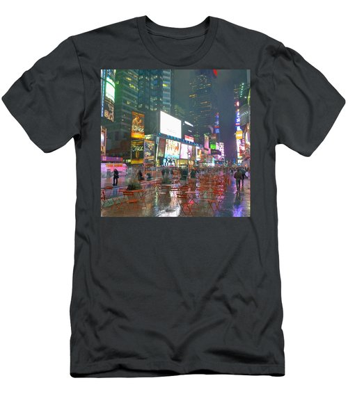 Times Square Red Rain Men's T-Shirt (Athletic Fit)