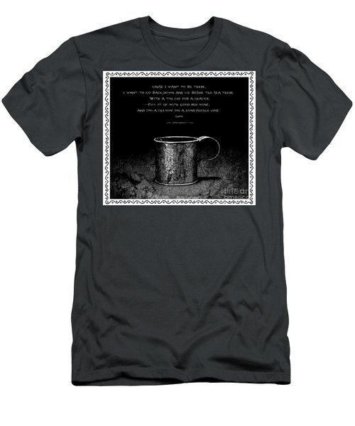 Tin Cup Chalice Lyrics With Wavy Border Men's T-Shirt (Slim Fit) by John Stephens