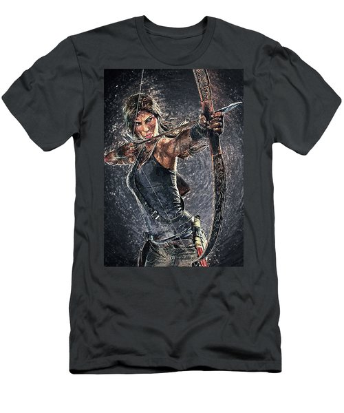 Men's T-Shirt (Slim Fit) featuring the digital art Tomb Raider by Taylan Apukovska