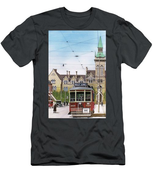 Men's T-Shirt (Slim Fit) featuring the painting Toronto Belt Line by Kenneth M Kirsch
