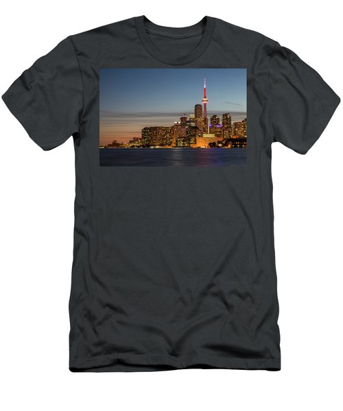 Men's T-Shirt (Athletic Fit) featuring the photograph Toronto Skyline At Dusk by Adam Romanowicz