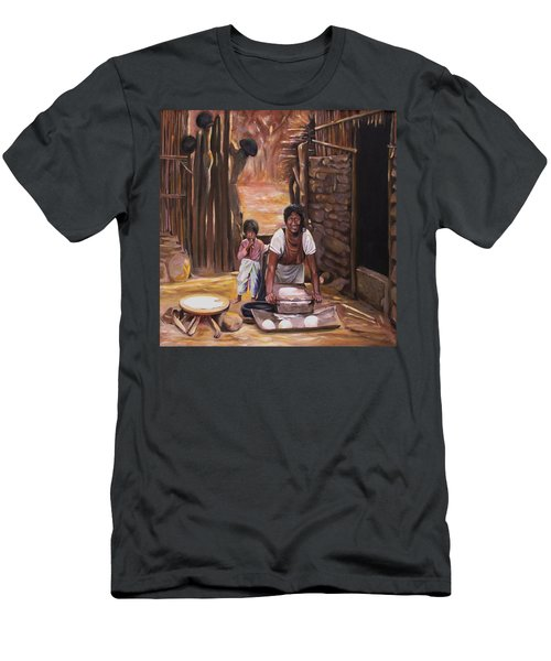 Men's T-Shirt (Slim Fit) featuring the painting Tortillas De Madre by Nancy Griswold