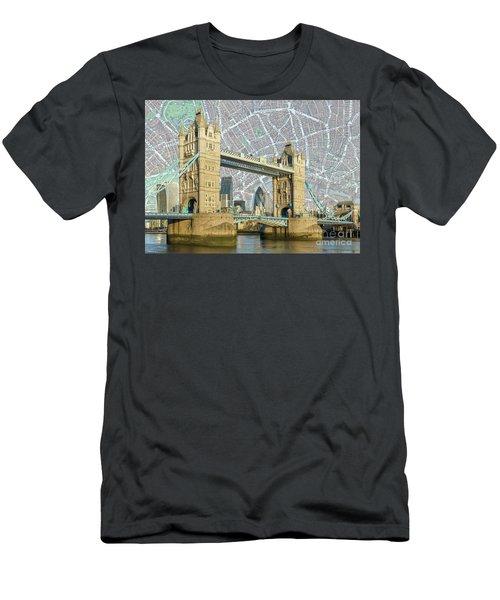 Men's T-Shirt (Slim Fit) featuring the digital art Tower Bridge by Adam Spencer