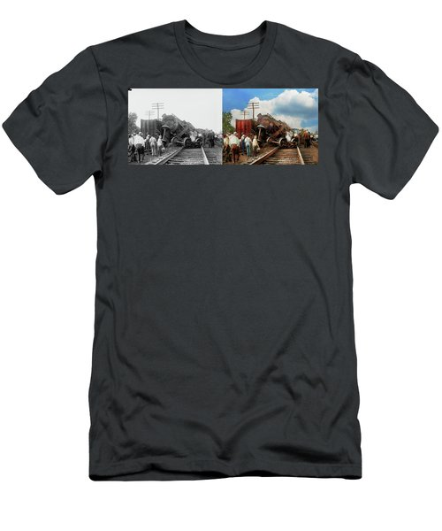 Men's T-Shirt (Slim Fit) featuring the photograph Train - Accident - Butting Heads 1922 - Side By Side by Mike Savad