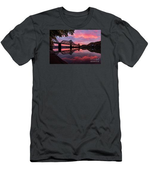Train Bridge At Sunrise  Men's T-Shirt (Slim Fit) by Emmanuel Panagiotakis