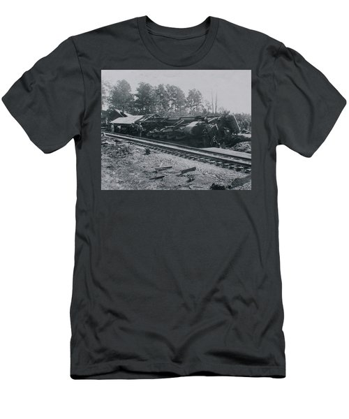 Men's T-Shirt (Athletic Fit) featuring the photograph Train Derailment by Jeanne May