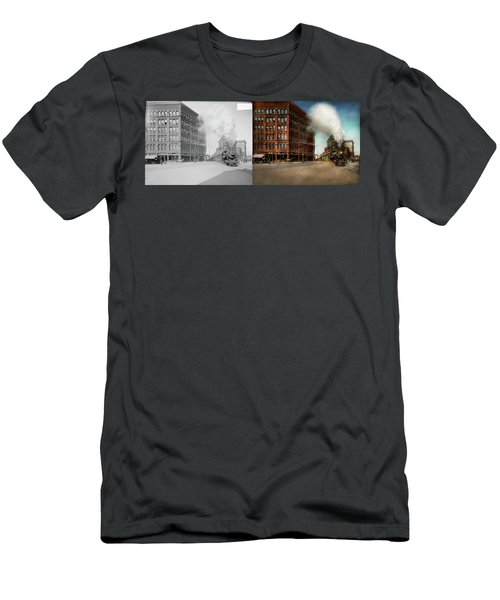 Men's T-Shirt (Slim Fit) featuring the photograph Train - Respect The Train 1905 - Side By Side by Mike Savad