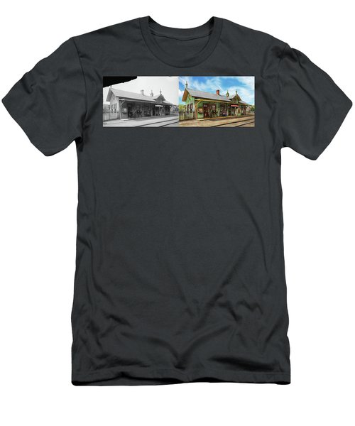 Men's T-Shirt (Slim Fit) featuring the photograph Train Station - Garrison Train Station 1880 - Side By Side by Mike Savad