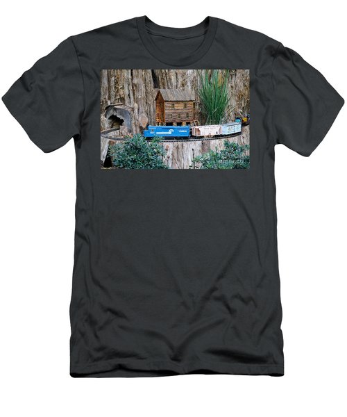 Men's T-Shirt (Slim Fit) featuring the painting Train Train Take Me Out Of This Town by Robert Pearson