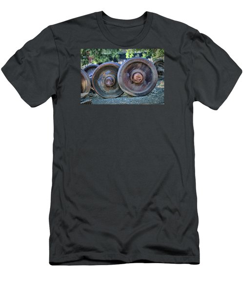 Men's T-Shirt (Slim Fit) featuring the photograph Train Wheels by Steve Siri