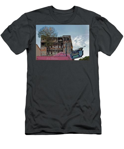 Tree In Building Over La Floridita Havana Cuba Men's T-Shirt (Slim Fit) by Charles Harden