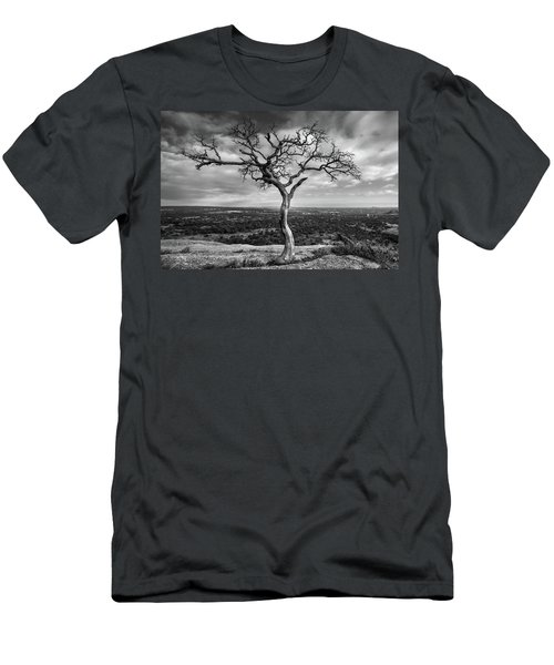 Tree On Enchanted Rock In Black And White Men's T-Shirt (Athletic Fit)