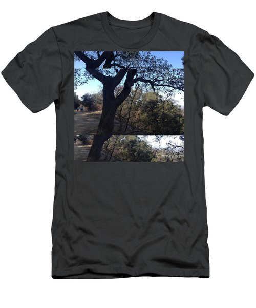 Men's T-Shirt (Slim Fit) featuring the photograph Tree Silhouette Collage by Nora Boghossian