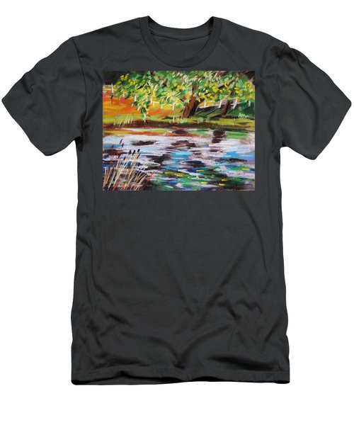 Trees Edge The Pond Men's T-Shirt (Slim Fit) by John Williams