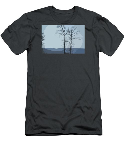Trees On Blue Men's T-Shirt (Slim Fit) by Donna G Smith