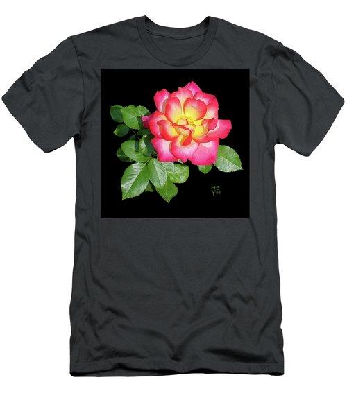 Tri-color Pink Rose2 Cutout Men's T-Shirt (Slim Fit) by Shirley Heyn