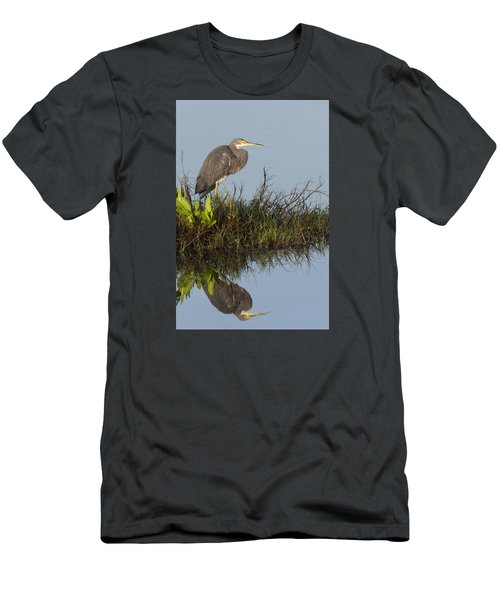 Tri-colored Heron And Reflection Men's T-Shirt (Athletic Fit)