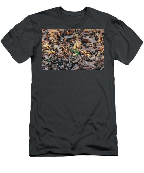 Trillium Blooming In Leaves On Forrest Floor Men's T-Shirt (Athletic Fit)