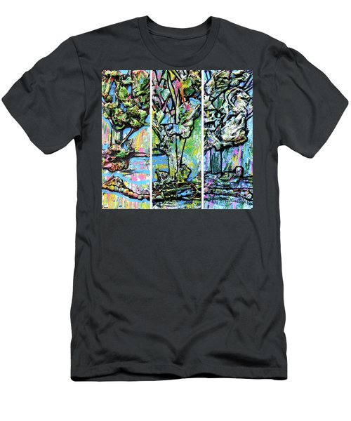 Men's T-Shirt (Slim Fit) featuring the painting Triptych Of Three Trees By A Brook by Genevieve Esson