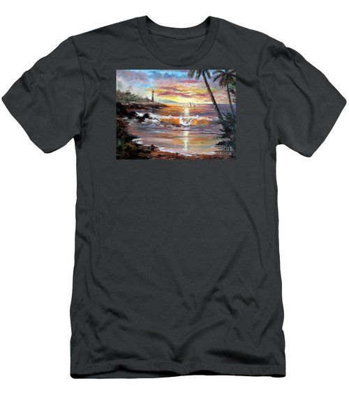 Tropical Sunset Men's T-Shirt (Slim Fit) by Lee Piper