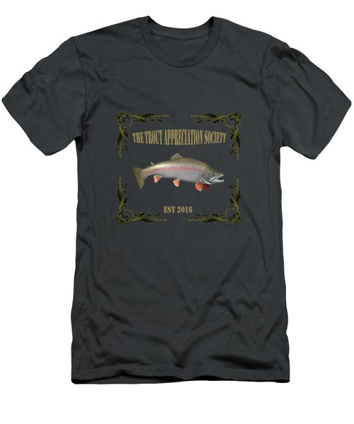 Trout Appreciation Society  Men's T-Shirt (Slim Fit) by Rob Hawkins