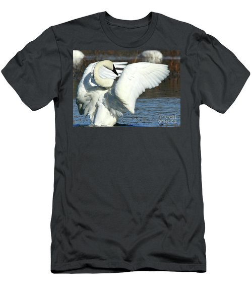 Men's T-Shirt (Slim Fit) featuring the photograph Trumpeter Swan by Paula Guttilla