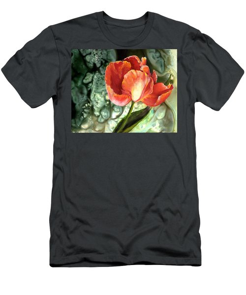Men's T-Shirt (Slim Fit) featuring the painting Tulip Dance by Sherry Shipley