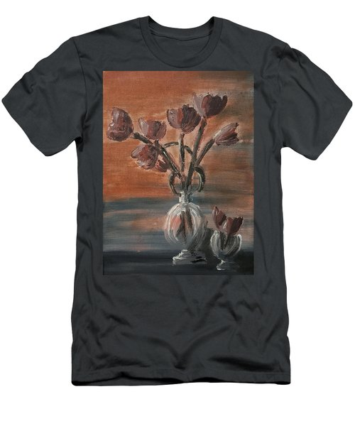 Men's T-Shirt (Slim Fit) featuring the painting Tulip Flowers Bouquet In Two Round Water Filled Small Globe Shaped Vases On A Table Still Life Of Bo by MendyZ