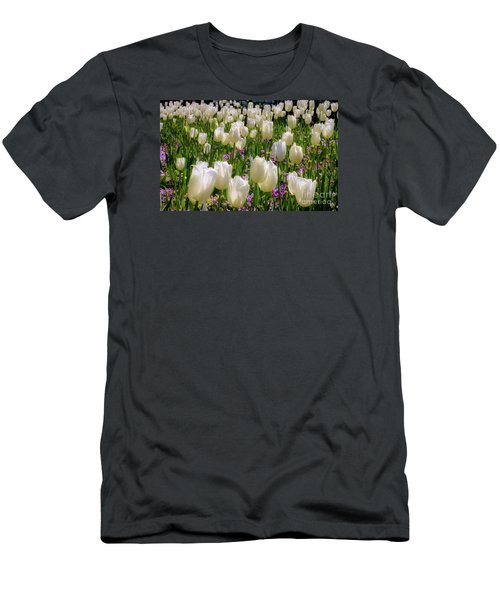 Tulips In White Men's T-Shirt (Athletic Fit)