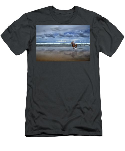 Tullan Strand - Horseriding In The Surf Men's T-Shirt (Athletic Fit)