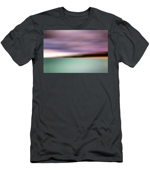 Men's T-Shirt (Athletic Fit) featuring the photograph Turquoise Waters Blurred Abstract by Adam Romanowicz