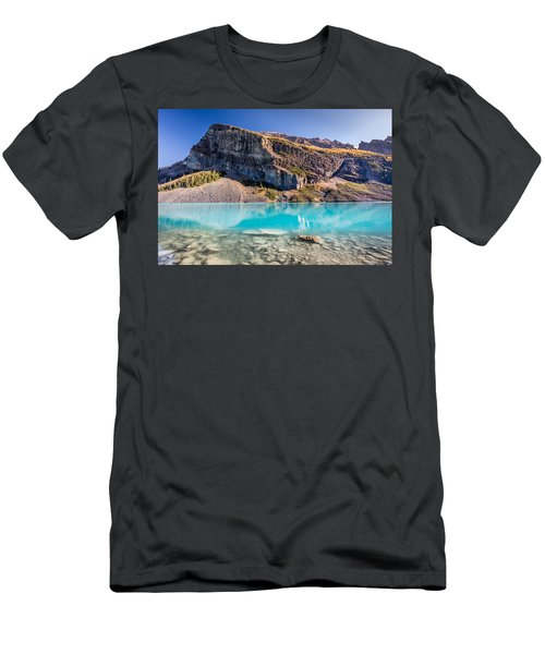 Turquoise Water Of The Scenic Lake Louise Men's T-Shirt (Slim Fit) by Pierre Leclerc Photography