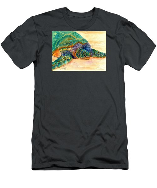 Men's T-Shirt (Slim Fit) featuring the painting Turtle At Poipu Beach 7 by Marionette Taboniar