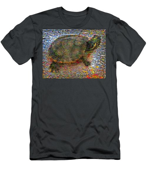 Men's T-Shirt (Slim Fit) featuring the mixed media Turtle Wild Animals Mosaic by Paul Van Scott