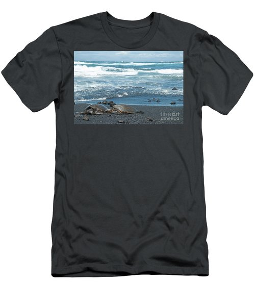 Turtles On Black Sand Beach Men's T-Shirt (Athletic Fit)