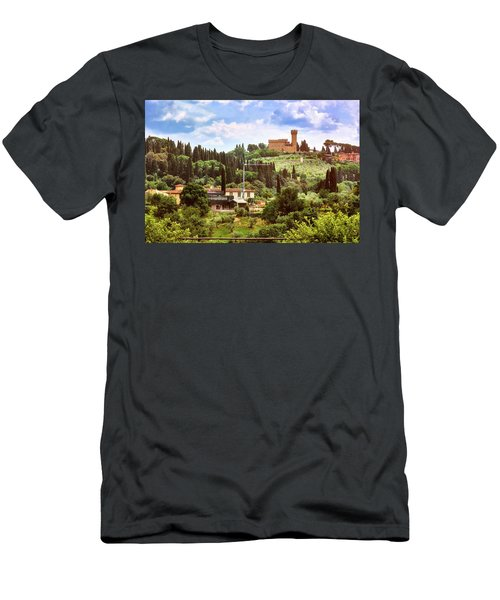 Tuscan Fields And Old Castle In Florence Men's T-Shirt (Athletic Fit)