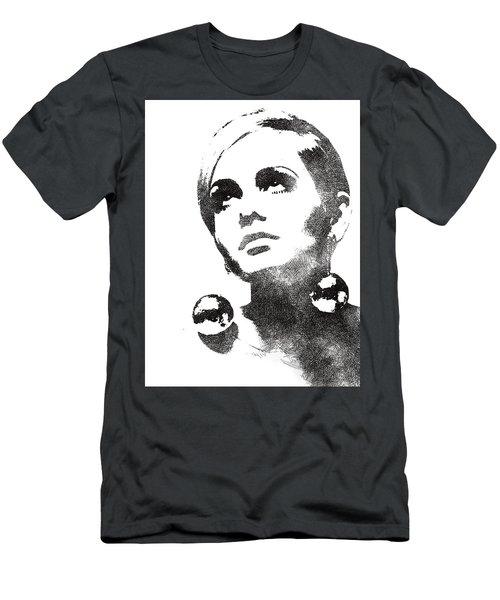 Twiggy Bw Portrait Men's T-Shirt (Slim Fit) by Mihaela Pater