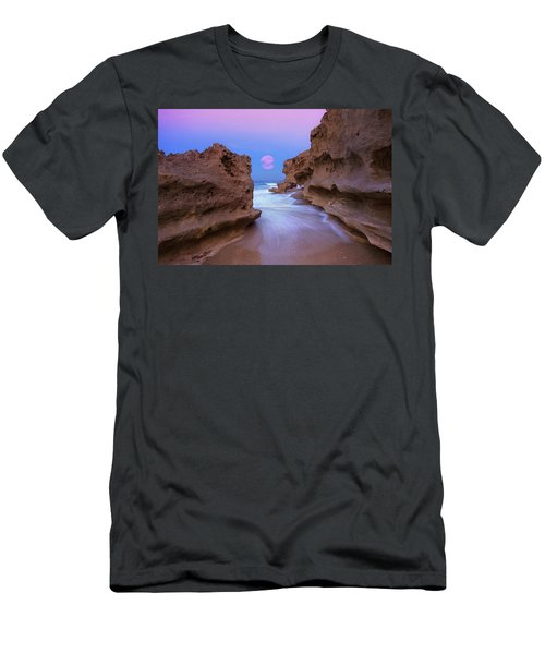 Men's T-Shirt (Slim Fit) featuring the photograph Twilight Moon Rising Over Hutchinson Island Beach Rocks by Justin Kelefas