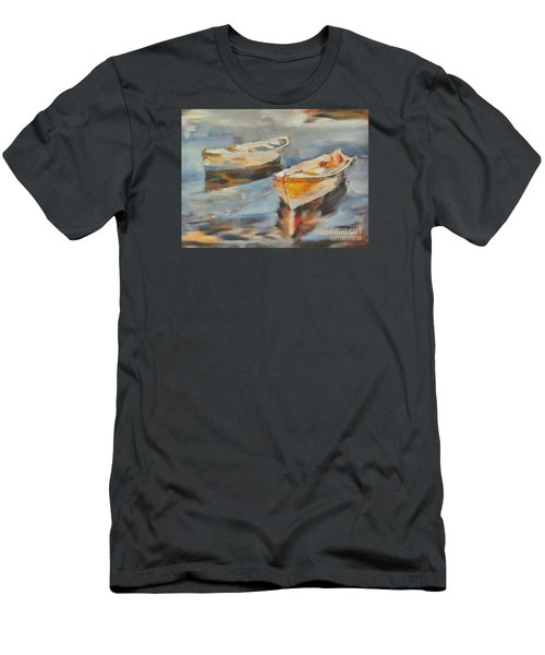 Men's T-Shirt (Slim Fit) featuring the painting Two Boats On A Mooring by Dragica  Micki Fortuna