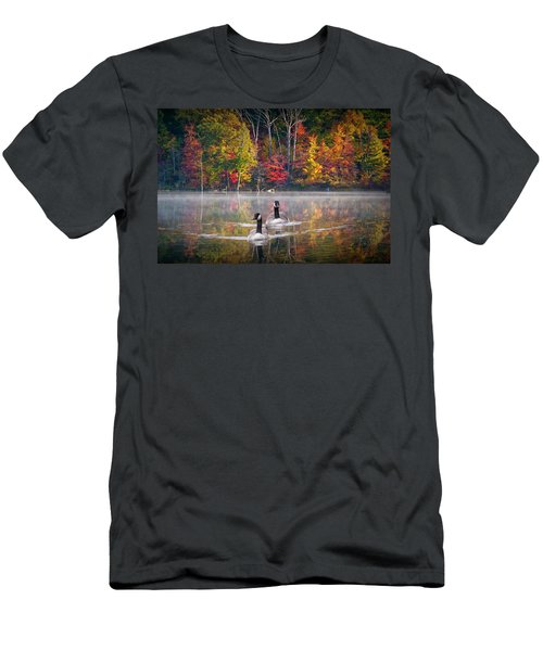 Two Canadian Geese Swimming In Autumn Men's T-Shirt (Athletic Fit)