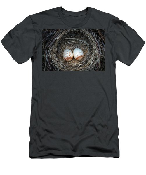 Men's T-Shirt (Athletic Fit) featuring the photograph Two Junco Eggs In The Nest by William Lee