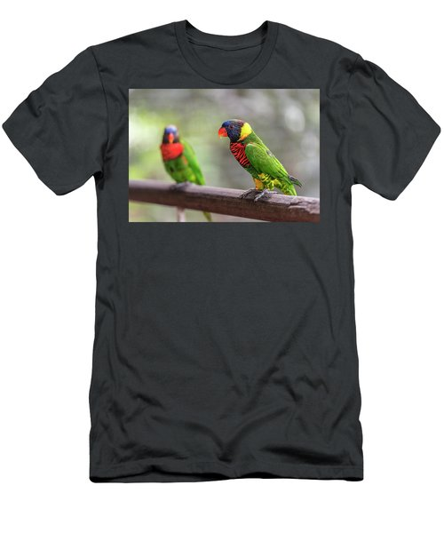 Men's T-Shirt (Athletic Fit) featuring the photograph Two Parrots by Pradeep Raja Prints