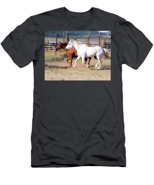 Two Ranch Horses Galloping Into The Corrals Men's T-Shirt (Athletic Fit)